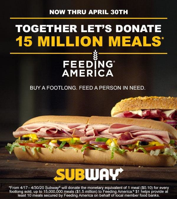 Forward Announces Subway Feeding America Partnership to Benefit Local Food Banks